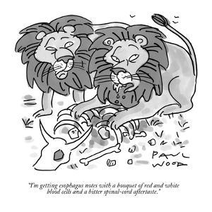 """""""I'm getting esophagus notes with a bouquet of red and white blood cells a?"""" - New Yorker Cartoon by Paul Wood"""