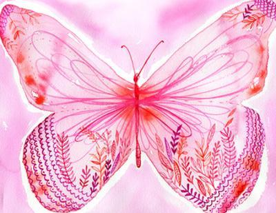 Big Pink Butterfly by Paula Mills