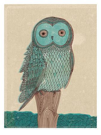 Owl In Blue Monotone