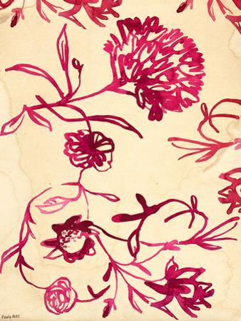 Pink Ink Floral Pattern by Paula Mills