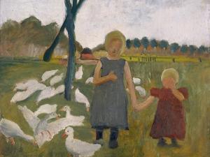 Kinder Mit Gaensen by Paula Modersohn-Becker