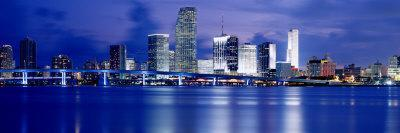 Panoramic View of an Urban Skyline at Night, Miami, Florida, USA