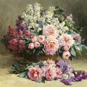 Lilac and Peonies with Irises (detail) by Pauline Caspers