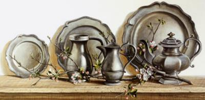 Pewter with Apple Blossom