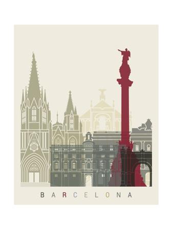 Barcelona Skyline Poster by paulrommer