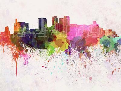 Birmingham Al Skyline in Watercolor Background