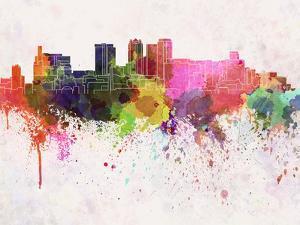Birmingham Al Skyline in Watercolor Background by paulrommer