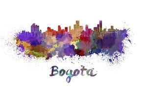 Bogota Skyline in Watercolor by paulrommer
