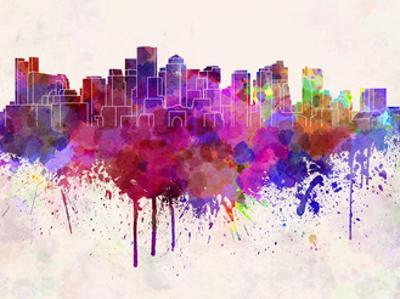 Boston Skyline in Watercolor Background by paulrommer