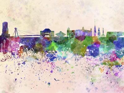 Bratislava Skyline in Watercolor Background by paulrommer