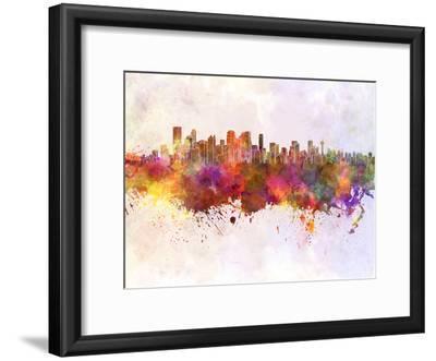 Calgary Skyline in Watercolor Background