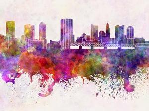 Columbus Skyline in Watercolor Background by paulrommer