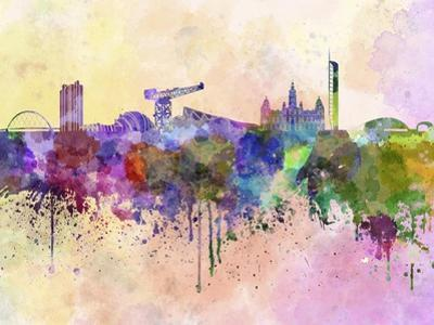 Glasgow Skyline in Watercolor Background by paulrommer