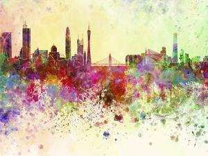 Guangzhou Skyline in Watercolor Background by paulrommer