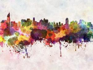 Jakarta Skyline in Watercolor Background by paulrommer