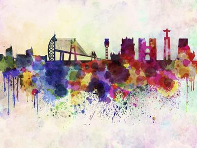 Lisbon Skyline in Watercolor Background by paulrommer