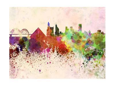 Memphis Skyline in Watercolor Background by paulrommer
