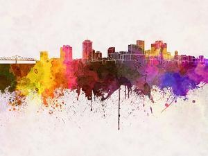 New Orleans Skyline in Watercolor Background by paulrommer