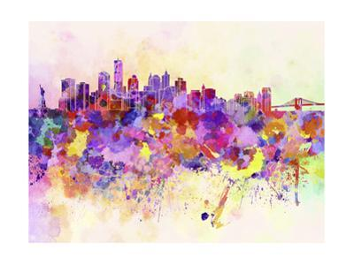 New York Skyline in Watercolor Background by paulrommer