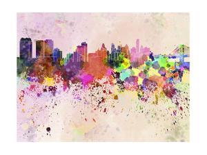 Philadelphia Skyline in Watercolor Background by paulrommer