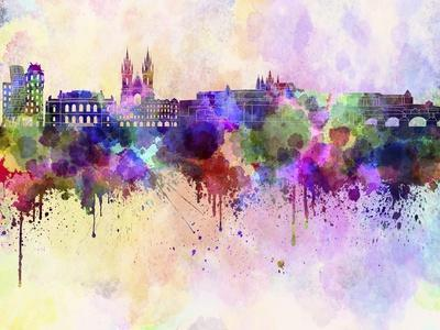 Prague Skyline in Watercolor Background