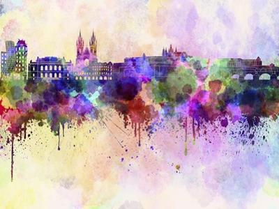 Prague Skyline in Watercolor Background by paulrommer