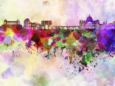 Rome Skyline in Watercolor Background by paulrommer