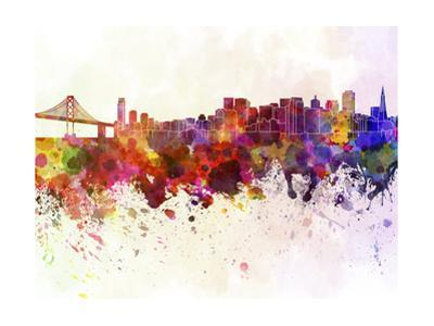 San Francisco Skyline in Watercolor Background by paulrommer