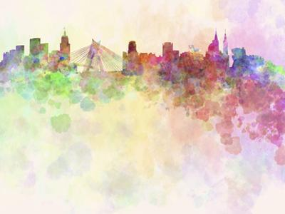 Sao Paulo Skyline in Watercolor Background by paulrommer