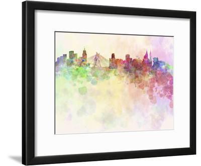 Sao Paulo Skyline in Watercolor Background