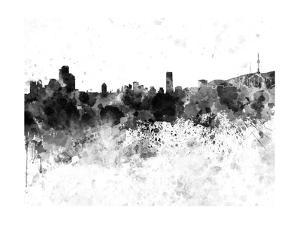 Seoul Skyline in Black Watercolor by paulrommer