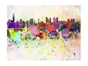 Tel Aviv Skyline in Watercolor Background by paulrommer