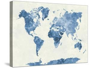 World maps canvas artwork for sale posters and prints at art world map in watercolor blue by paulrommer gumiabroncs Images