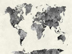 Paulrommer world maps artwork for sale posters and prints at art world map in watercolor graypaulrommer gumiabroncs Image collections