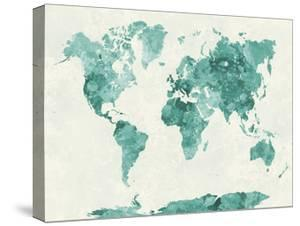 Beautiful maps artwork for sale posters and prints the new art world map in watercolor green paulrommer stretched canvas print gumiabroncs Gallery