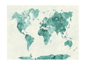 World Map in Watercolor Green by paulrommer