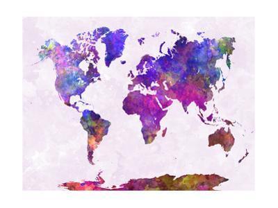 World Map in Watercolor Purple Warm by paulrommer
