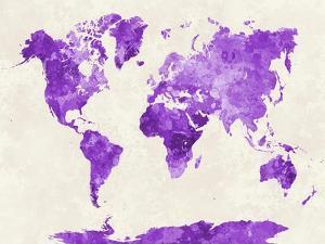 World Map in Watercolor Purple by paulrommer
