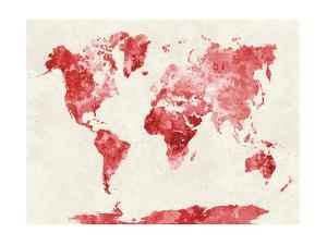 Beautiful world maps artwork for sale posters and prints art world map in watercolor red paulrommergiclee print gumiabroncs Images