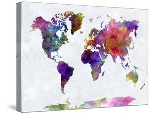 Beautiful World Maps Stretched Canvas Prints Artwork For Sale