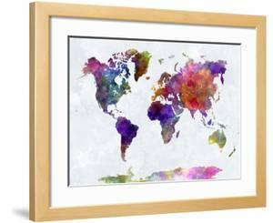 World maps artwork for sale posters and prints at art world map in watercolorpurple and blue gumiabroncs Images