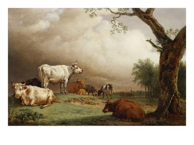 Cattle in a Field, with Travellers in a Wagon on a Track Beyond and a Church Tower in the…