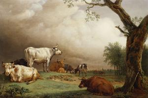 Cattle in a Field, with Travellers in a Wagon on a Track Beyond and a Church Tower in the… by Paulus Potter