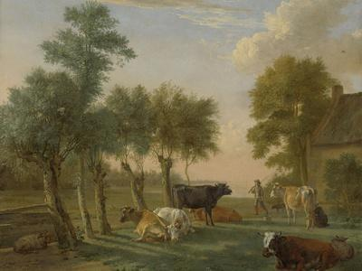Cows in a Meadow Near a Farm, Paulus Potter