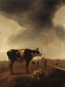 Vaches, moutons et berger by Paulus Potter