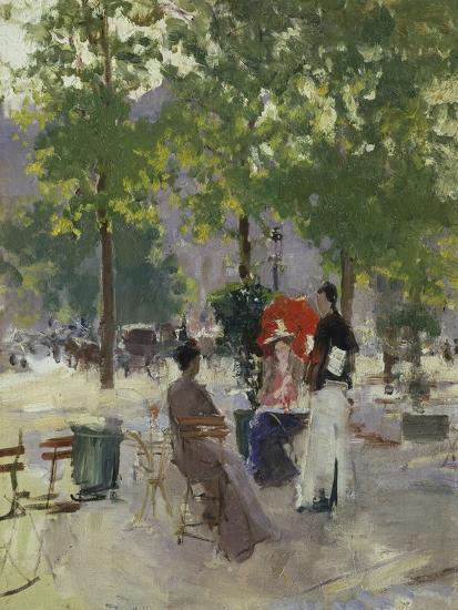 Pavement Café in Paris-Konstantin A^ Korovin-Giclee Print