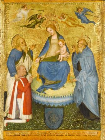 Virgin and Child Crowned by Angels, with St John the Evangelist, St Anthony Abbot, and Donor, 1400