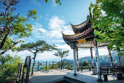 Pavilion on Four Sides Peak at Tian Mu Shan, Zhejiang, China-Andreas Brandl-Photographic Print