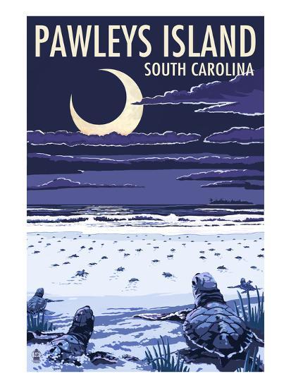 Pawleys Island, South Carolina - Baby Sea Turtles-Lantern Press-Art Print
