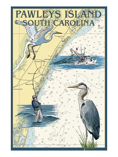 Pawleys Island, South Carolina - Nautical Chart-Lantern Press-Art Print